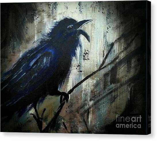 Cawing The Storm Canvas Print