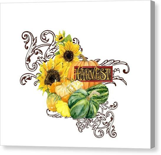 Pumpkin Patch Canvas Print - Celebrate Abundance - Harvest Fall Pumpkins Squash N Sunflowers by Audrey Jeanne Roberts