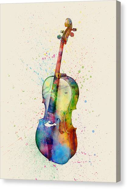 Musical Instruments Canvas Print - Cello Abstract Watercolor by Michael Tompsett