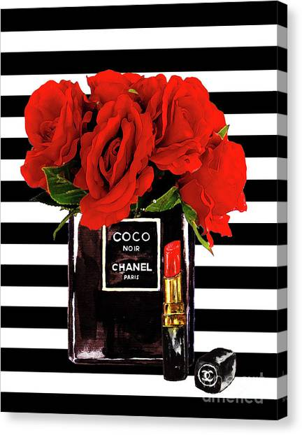 Chanel Canvas Print - Chanel Perfume With Red Roses by Del Art