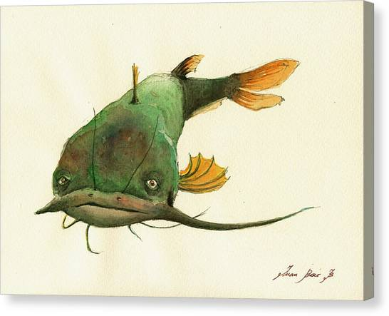 Fly Fishing Canvas Print - Channel Catfish Fish Animal Watercolor Painting by Juan  Bosco