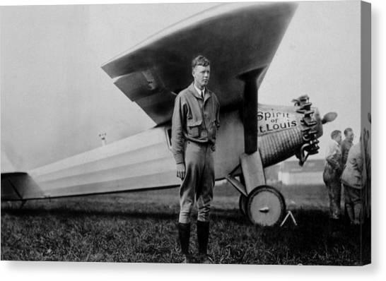 Jt History Canvas Print - Charles Lindbergh 1902-1974 by Everett