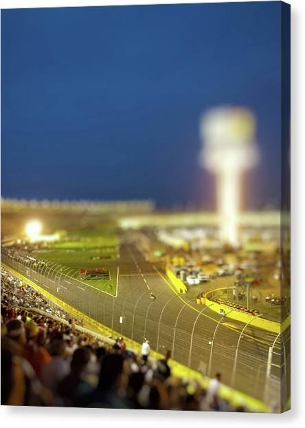 Stock Cars Canvas Print - Charlotte Motor Speedway by Kenneth Krolikowski