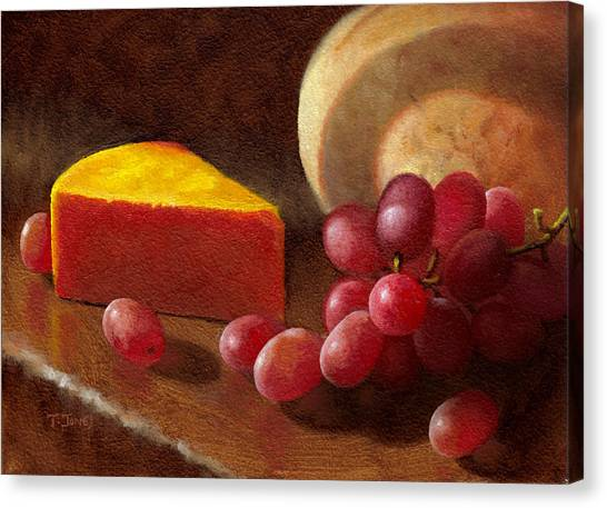 Cheese Wedge And Grapes Canvas Print