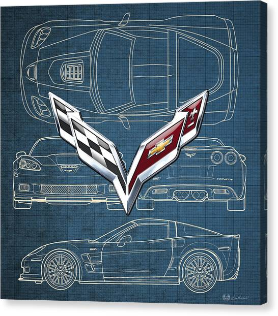 Automobiles Canvas Print - Chevrolet Corvette 3 D Badge Over Corvette C 6 Z R 1 Blueprint by Serge Averbukh