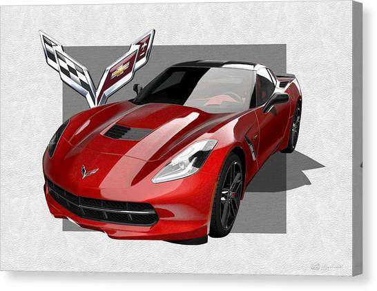 Automobiles Canvas Print - Chevrolet Corvette  C 7  Stingray With 3 D Badge  by Serge Averbukh