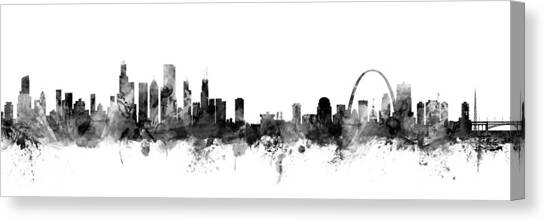 Chicago Skyline Canvas Print - Chicago And St Louis Skyline Mashup by Michael Tompsett