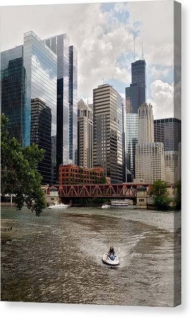 Chicago River Jet Ski Canvas Print