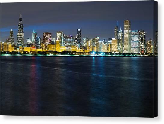 Chicago Skyline Art Canvas Print - Chicago Skyline At Dusk by Twenty Two North Photography