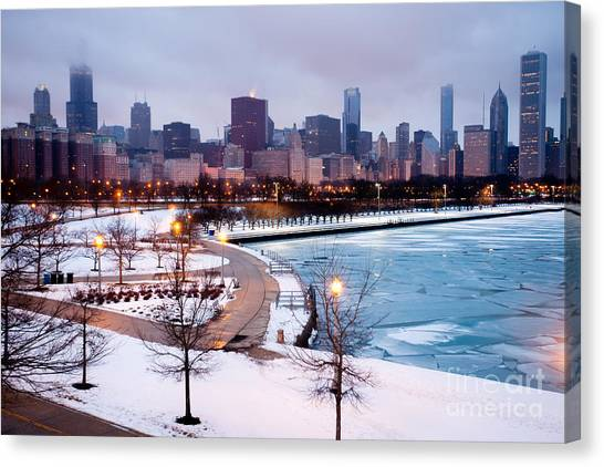 Chicago Canvas Print - Chicago Skyline In Winter by Paul Velgos