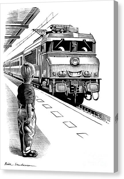 Trainspotting Canvas Print - Child Train Safety, Artwork by Bill Sanderson