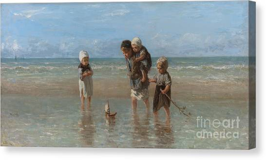 Floating Girl Canvas Print - Children Of The Sea by Jozef Israels