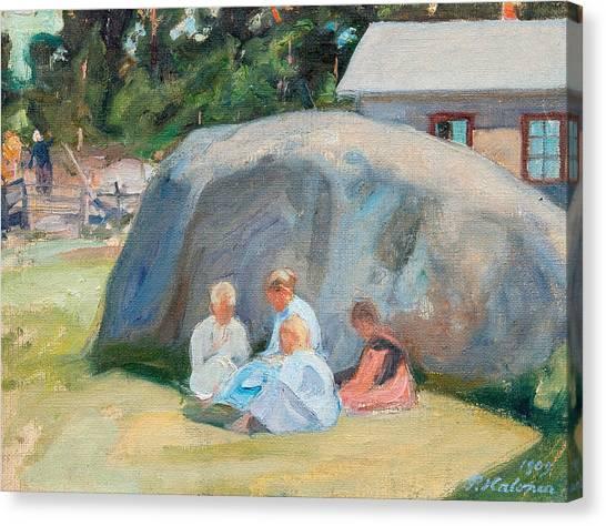 Pekka Canvas Print - Children Playing In The Yard by Pekka Halonen
