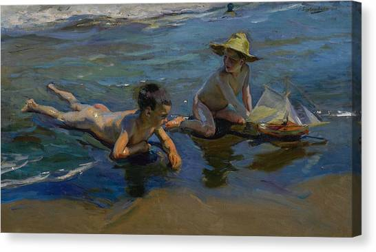 Children Playing On Beach Canvas Print - Children Playing On The Beach by Joaquin Sorolla