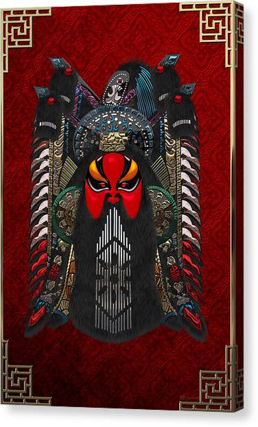 Face Canvas Print - Chinese Masks - Large Masks Series - The Red Face by Serge Averbukh