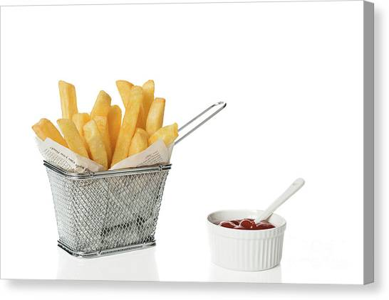 Ketchup Canvas Print - Chips With Tomato Sauce by Amanda Elwell