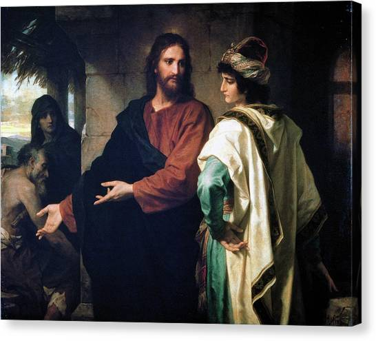 Christ And The Rich Young Ruler Canvas Print