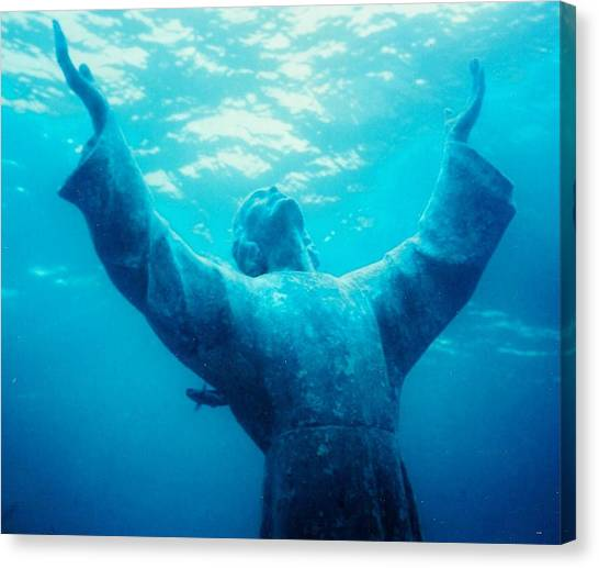 Christ At Sea Canvas Print by Renee Shular
