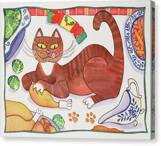 Turkey Dinner Canvas Print - Christmas Cat And The Turkey by Cathy Baxter