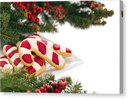 Christmas Cookies Decorated With Real Tree Branches Canvas Print