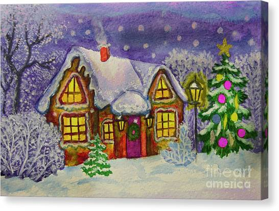 Christmas House, Painting Canvas Print