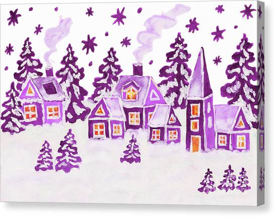 Christmas Picture In Raspberry Pink Colours Canvas Print