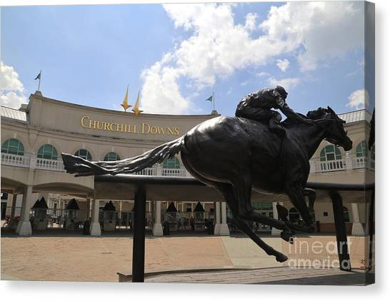 Belmont University Canvas Print - Barbaro Statue At Churchill Downs by Douglas Sacha