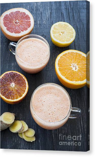 Smoothie Canvas Print - Citrus Smoothies by Elena Elisseeva