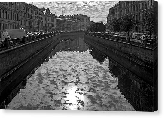 City Reflected In The Water Channels Canvas Print