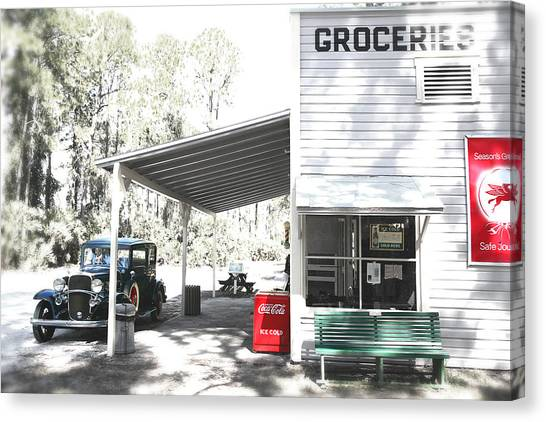 Beautiful Old Grocery Store Canvas Print   Classic Chevrolet Automobile Parked Outside  The Store By Mal Bray