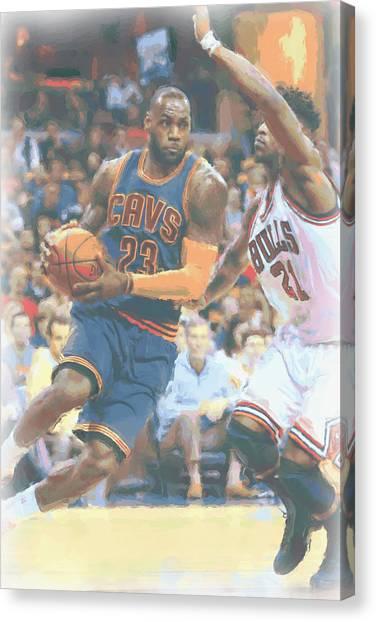 Lebron James Canvas Print - Cleveland Cavaliers Lebron James 2 by Joe Hamilton