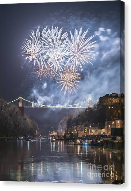 Clifton Suspension Bridge Fireworks Canvas Print
