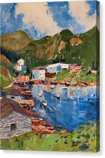 Coastal Village, Newfoundland Canvas Print