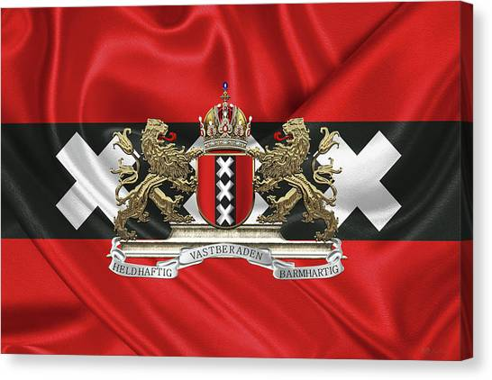 Flags Canvas Print - Coat Of Arms Of Amsterdam Over Flag Of Amsterdam by Serge Averbukh