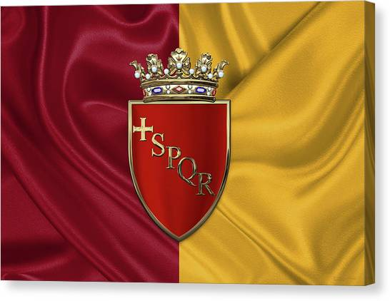 Rome Canvas Print - Coat Of Arms Of Rome Over Flag Of Rome by Serge Averbukh