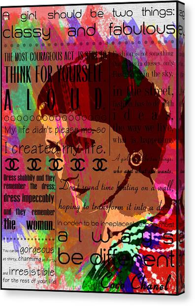 Del art 45 · chanel canvas print coco chanel inspirational motivational independent quotes 3 by diana van by