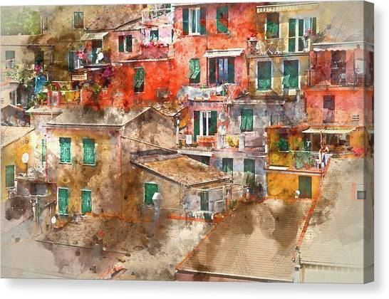 Colorful Homes In Cinque Terre Italy Canvas Print