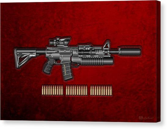 Rifles Canvas Print - Colt  M 4 A 1  S O P M O D Carbine With 5.56 N A T O Rounds On Red Velvet  by Serge Averbukh