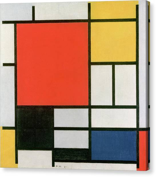 De Stijl Canvas Print - Composition In Red, Yellow, Blue And Black by Piet Mondrian