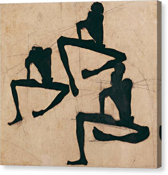 Male Nude Art Canvas Print - Composition With Three Male Nudes by Egon Schiele