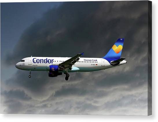 Condors Canvas Print - Condor Airbus A320-212 by Smart Aviation