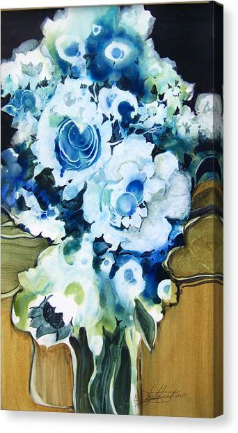 Contemporary Floral In Blue And White Canvas Print by Lois Mountz