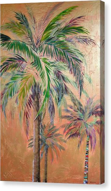 Copper Trio Of Palms Canvas Print