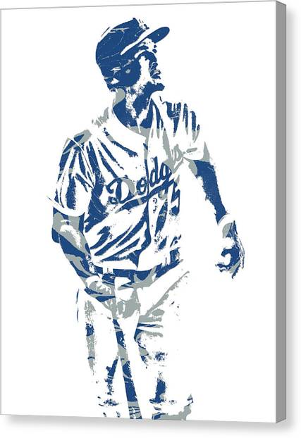 Los Angeles Dodgers Canvas Print - Corey Seager Los Angeles Dodgers Pixel Art 10 by Joe Hamilton
