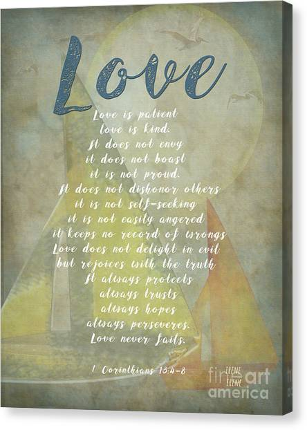 1 Corinthians 13 4-8 Love Is Patient Love Is Kind Wedding Verses. Great Gift For Men Or Home Decor. Canvas Print