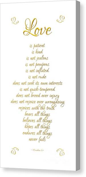 Canvas Print featuring the digital art 1 Corinthians 13 Love Is White Background by Rose Santuci-Sofranko