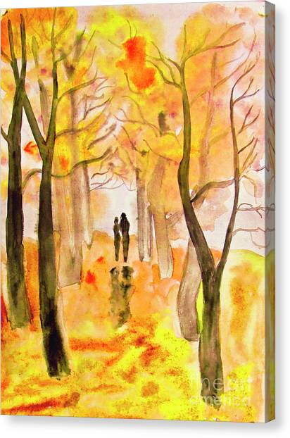 Couple On Autumn Alley, Painting Canvas Print