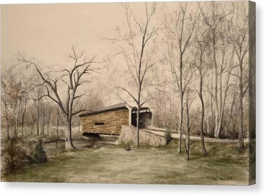 Covered Bridge In Winter Canvas Print by David Bruce Michener