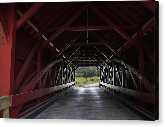 Inside A Covered Bridge Canvas Print