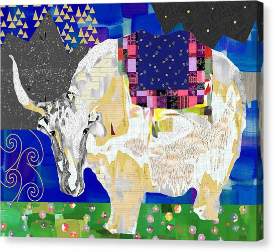 Yaks Canvas Print - Stay Curious Cow Collage  by Claudia Schoen